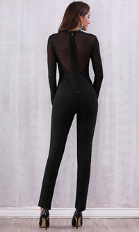 Cat Woman Black Sheer Mesh Long Sleeve Mock Neck Skinny Bandage Bodycon Jumpsuit - Sold Out