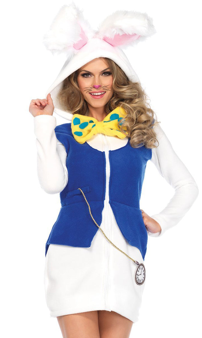 Late For A Date White Blue Fleece Long Sleeve Hood Zip Front Bodycon Mini Dress Halloween Costume