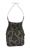 Fiery Romance Black Lace Sleeveless Spaghetti Strap Plunge V Neck Bodycon Mini Dress