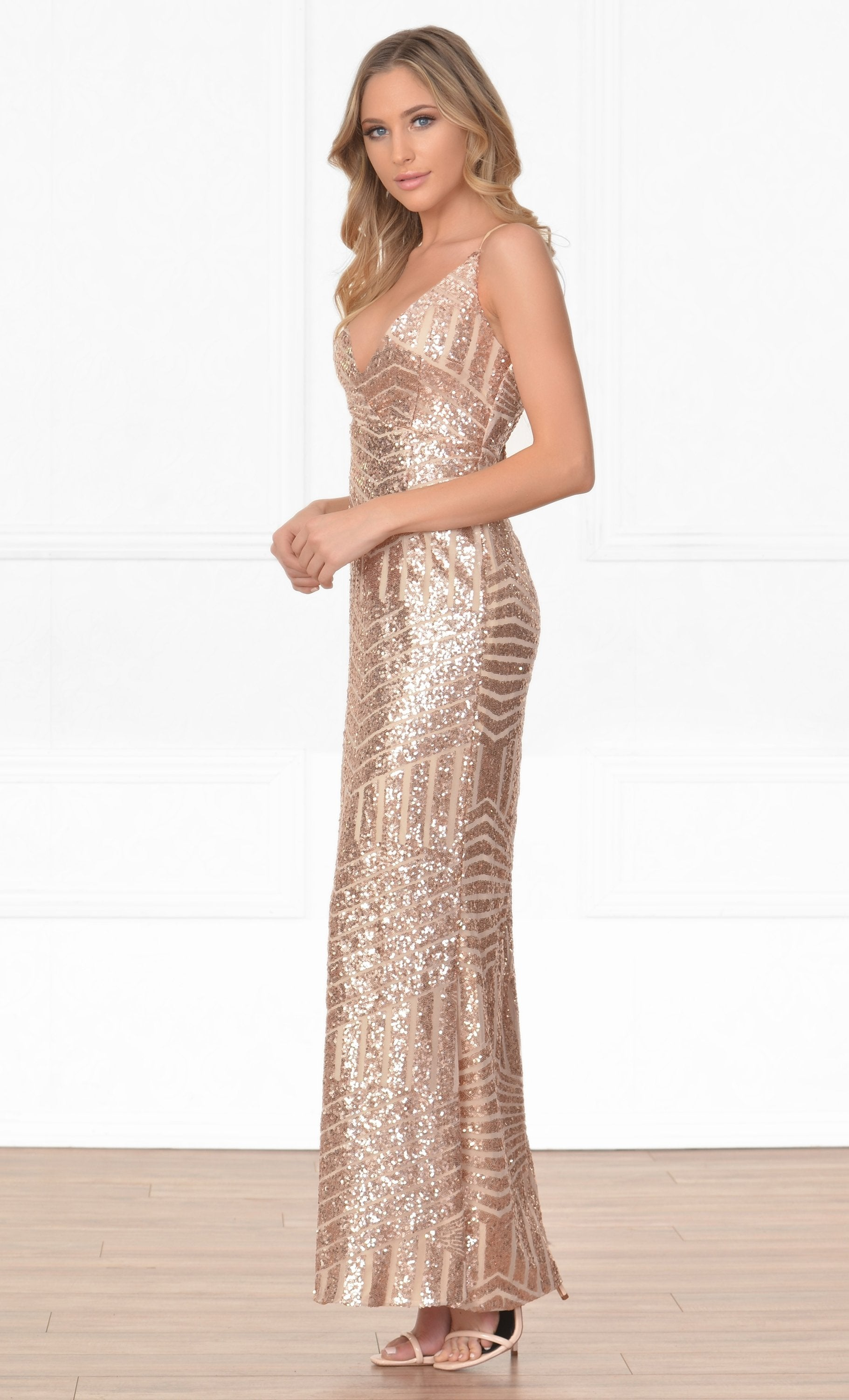 Indie XO My Moment To Shine Gold Beige Geometric Sequin Sleeveless Spaghetti Strap Cross Wrap V Neck Thigh Slit Maxi Dress