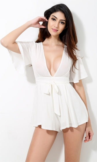 My Wild Heart White Short Trumpet Sleeve Plunge V Neck Tie Waist Romper Playsuit