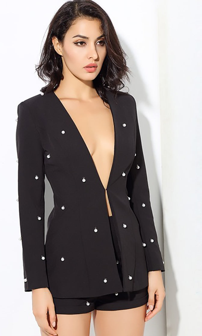 Pearly Perfection Black Long Sleeve Faux Pearl Blazer Romper Short Two Piece Set - 4 Colors Available
