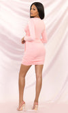 Heaven Sent Pink Long Sleeve Stretch Bodycon Ruched Tie Front Waist V Neck Mini Dress