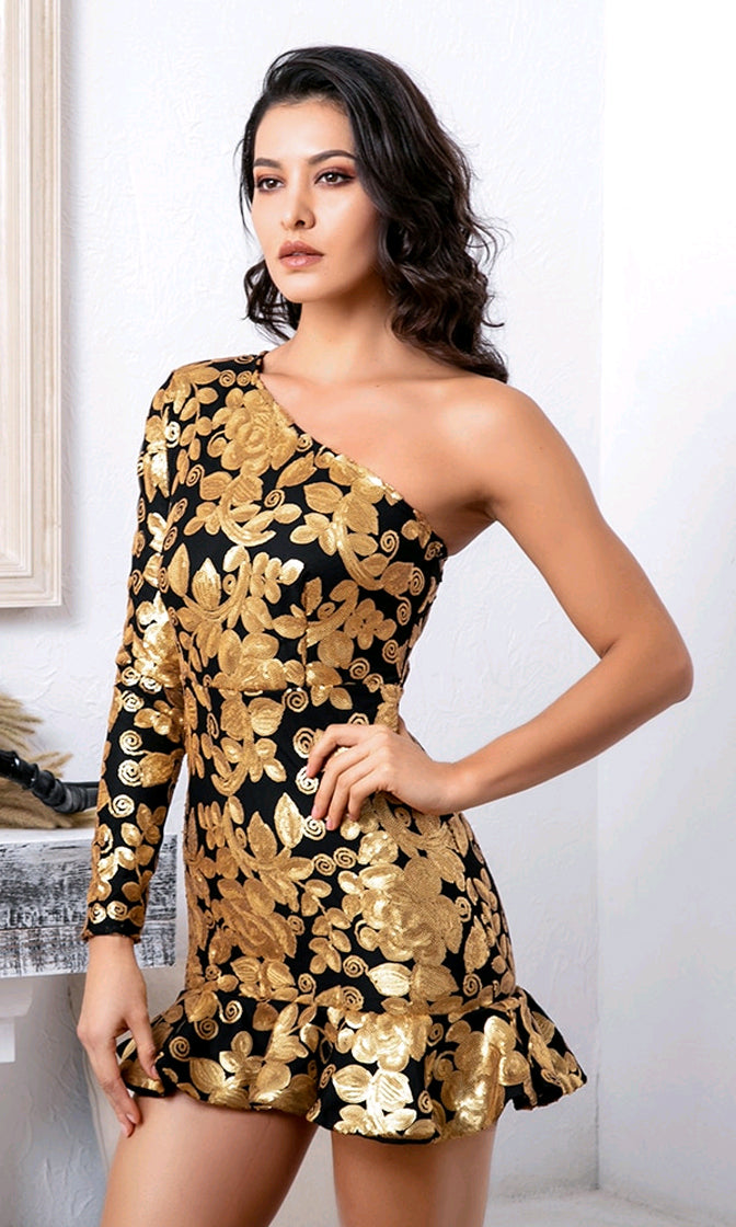 Gilded Glory Black Gold Swirl Sequin Floral Pattern Ruffle Hem One Long Sleeve Mini Dress