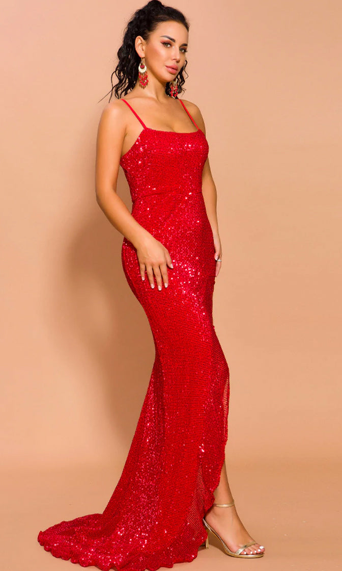 Special Lady Red Glitter Sleeveless Spaghetti Strap Scoop Neck High Slit Maxi Dress