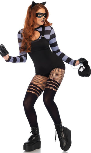 Crafty Kitty Black Grey Horizontal Stripe Pattern Long Sleeve Crew Neck Cut Out Keyhole Bodycon Romper Playsuit Halloween Costume