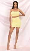 Love Me Better Two Piece Mesh Spaghetti Strap Ruched Crop Top Mini Skirt Dress