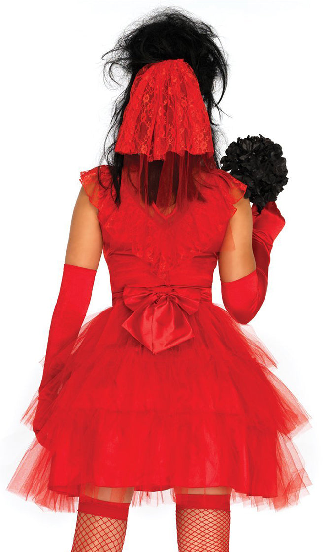 Ghost Bride Red Lace Cap Sleeve Mock Neck Sheer Mesh Tiered A Line Flare Tulle Mini Dress Halloween Costume