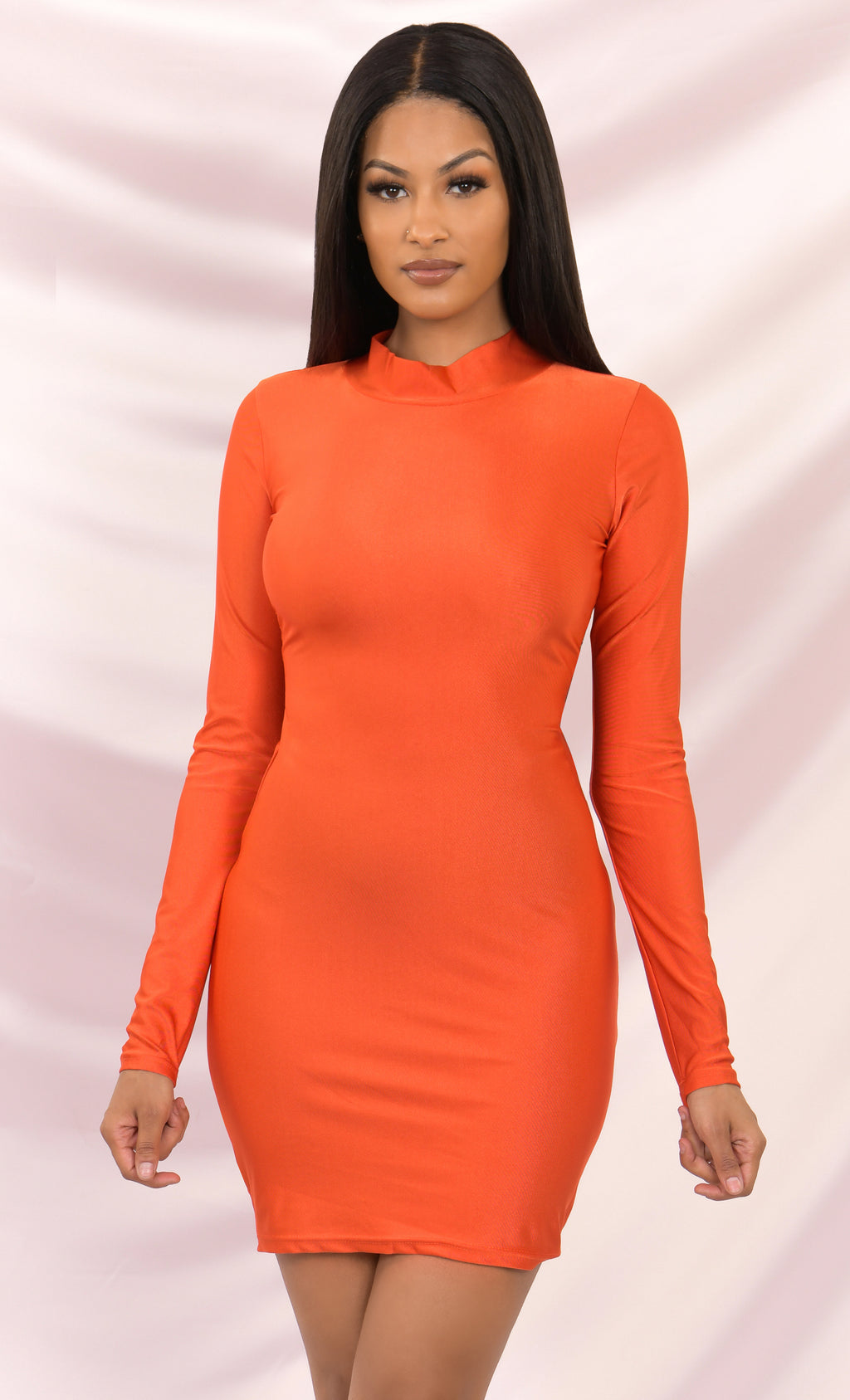Boss Babe Orange Long Sleeve Bodycon Mock Neck Ruched Cut Out Tie Back Mini Dress - Inspired by Kylie Jenner