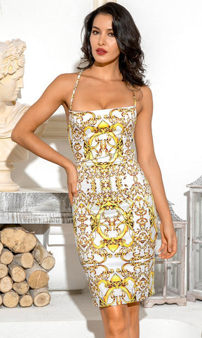 Go Your Own Way Gold Geometric Pattern Satin Long Sleeve Plunge V Neck Drape Split Mini Dress