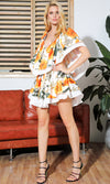 Call Me Baby White Orange Floral Pattern Short Sleeve Ruffle V Neck Cut Out Sides Flare A Line Casual Mini Dress