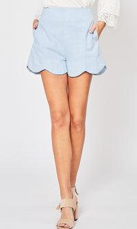 Never Mind Blue Vertical Pinstripe Pattern High Waist Scallop Hem Shorts - Sold Out