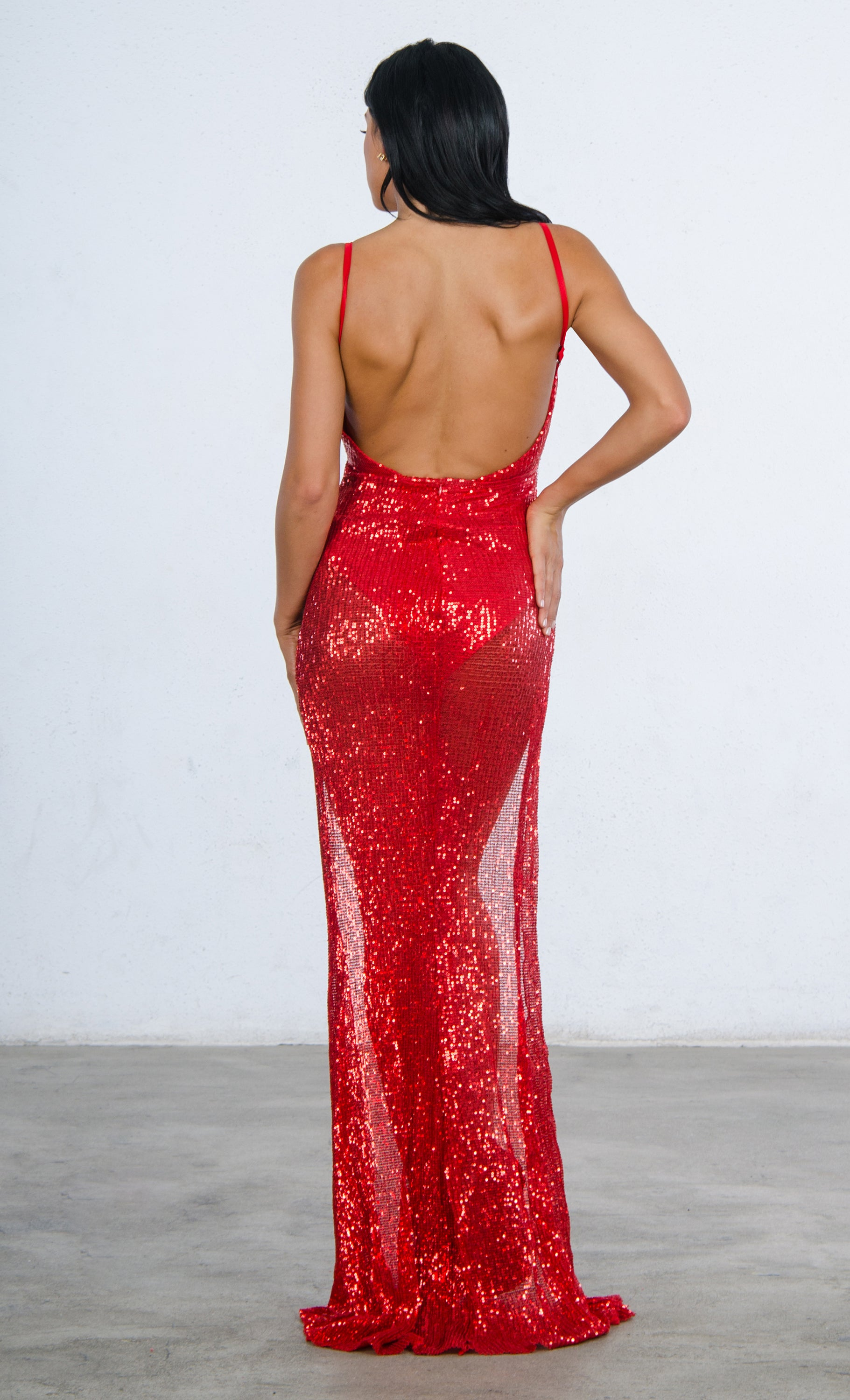 4d3732b30f5 Indie XO Mystery Girl Red Semi Sheer Sequin Spaghetti Strap Sleeveless  Plunge V Neck Backless Double
