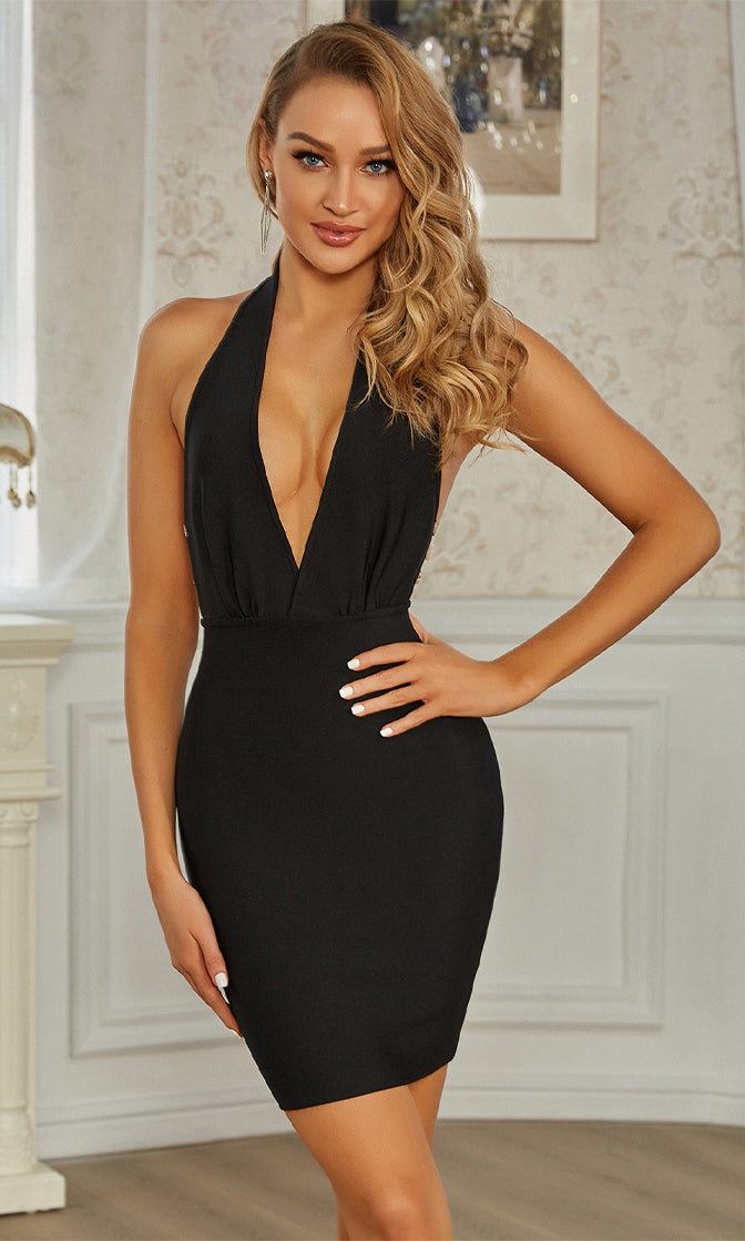 Touch Of Fantasy Black Faux Pearl Sleeveless Halter Plunge V Neck Backless Bandage Bodycon Mini Dress