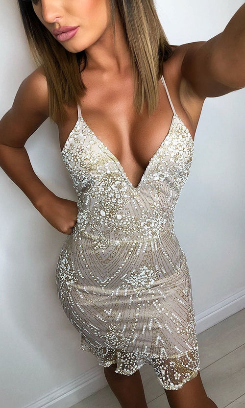 Cocktail Party Gold Sequin Geometric Pattern Sleeveless Spaghetti Strap V Neck Ruffle Bodycon Mini Dress