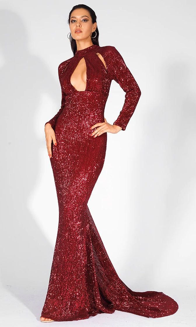 Pure Glamour Red Sequin Long Sleeve Mock Neck Cut Out Keyhole Mermaid Maxi Dress