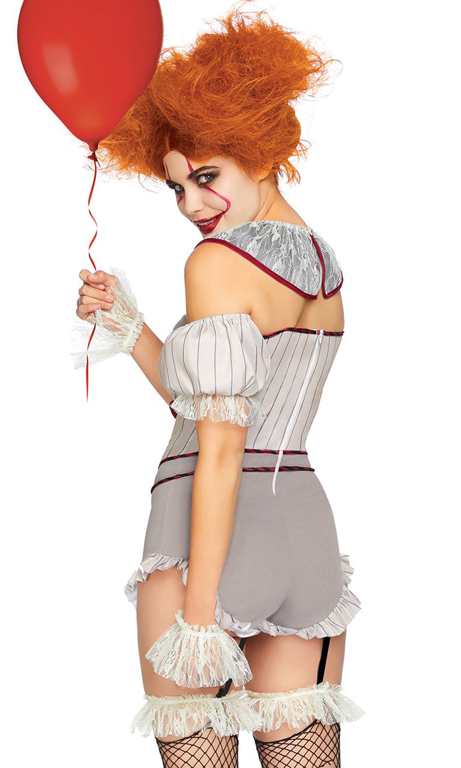 Clowning Around Grey Red Stripe Pattern Strapless V Neck Ruffle Bodycon Romper Halloween Costume - Sold Out