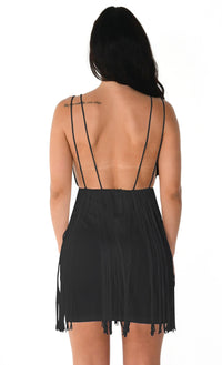 Sway With Me Black Elastic Waist Stretchy Fringe Sleeveless Plunge V Neck Bodycon Mini Dress