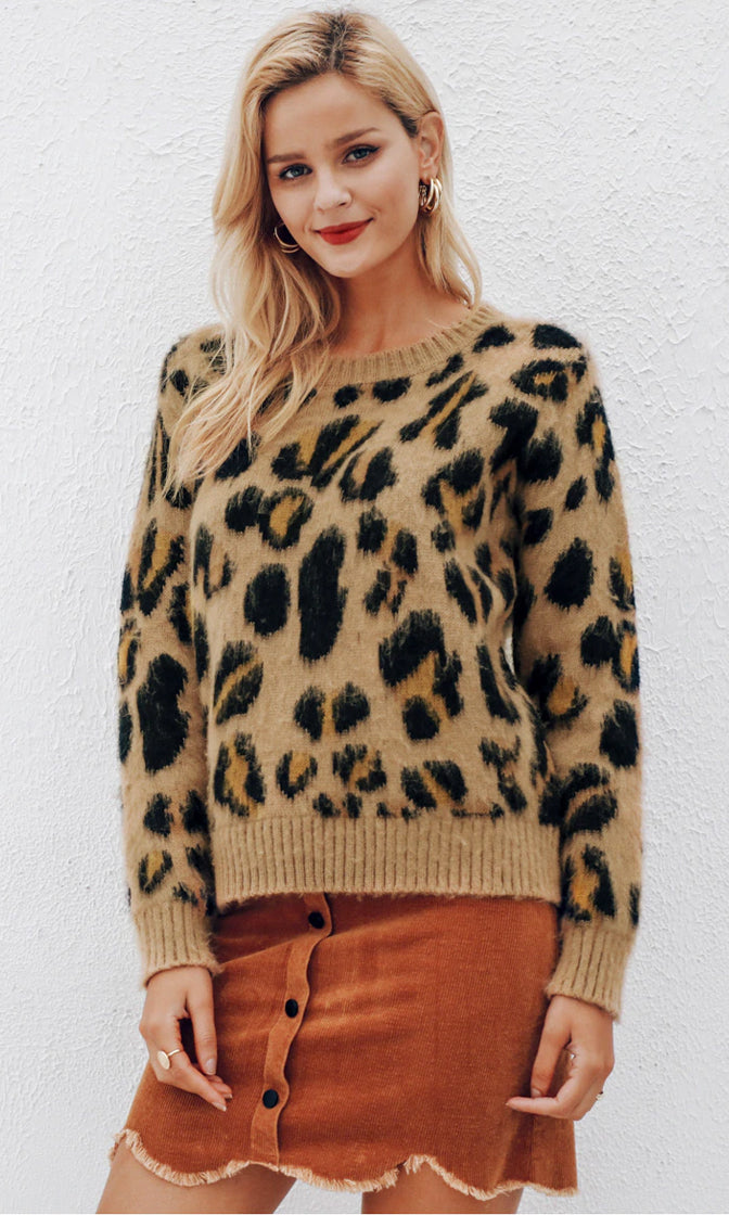 Here Kitty Kitty Cheetah Animal Pattern Long Sleeve Crew Neck Pullover Sweater - 2 Colors Available