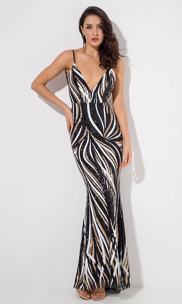 Now You See Me Black Sequin Wavy Geometric Pattern Sleeveless Spaghetti Strap Backless Plunge V Neck Maxi Dress