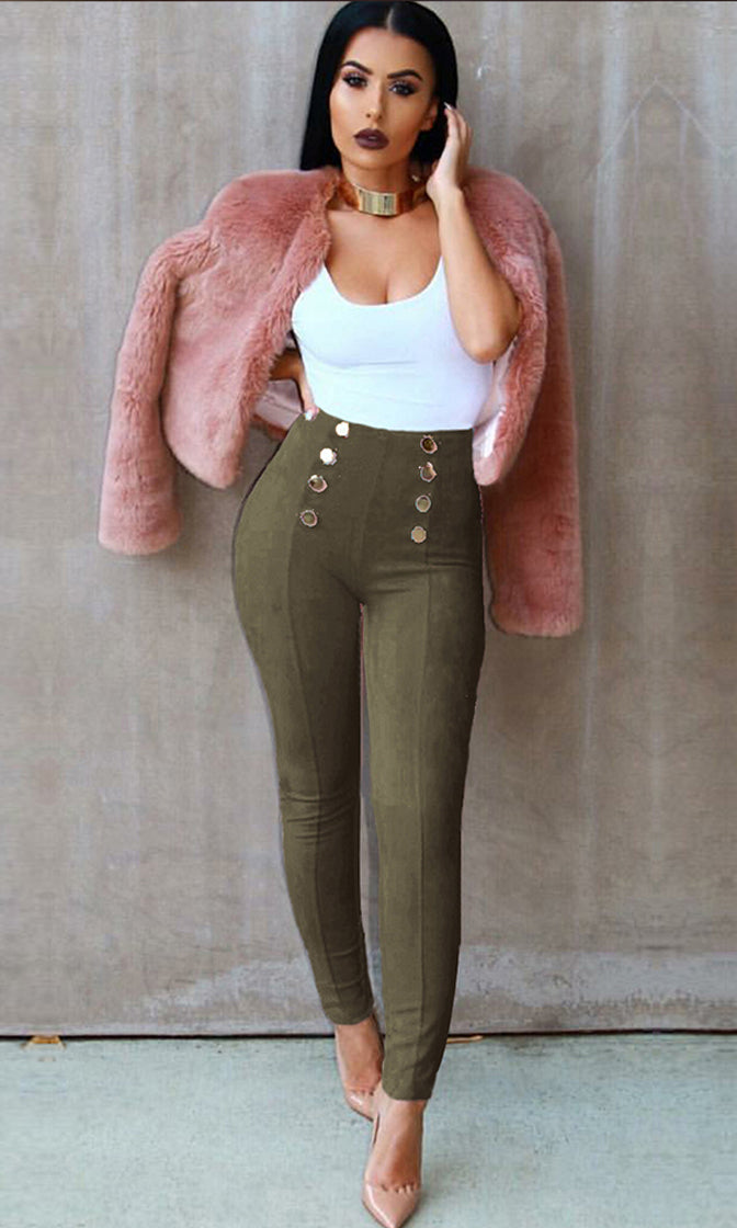 Private Thoughts High Waist Gold Buttons Skinny Tight Pants - 5 Colors Available