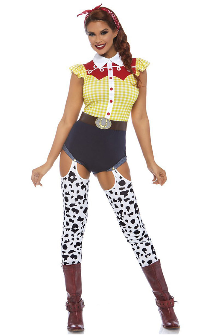 Cutest Cowgirl Yellow Plaid Pattern Ruffle Cap Sleeve Romper Cut Out Cow Print Leggings Halloween Costume