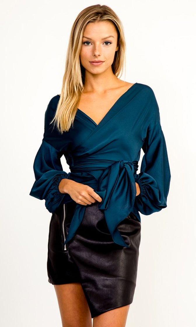 Out Of Time Teal Satin Long Lantern Sleeve Off The Shoulder Cross Wrap V Neck Tie Belt Blouse Top