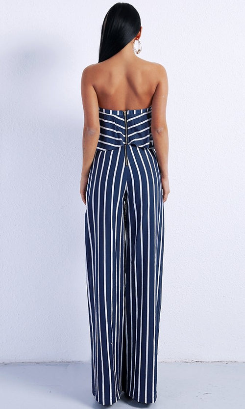 Yacht Party Blue Vertical Stripe Strapless Crop Top Wide Leg Pant Two Piece Set