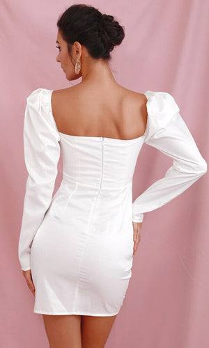 One Moment White Long Sleeve Puff Shoulder Sweetheart Neck Cross Wrap Ruched Bodycon Mini Dress