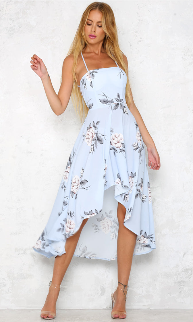 Hearts Are Breaking Sky Blue Floral Pattern Sleeveless Spaghetti Strap Backless Lace Up High Low Midi Dress