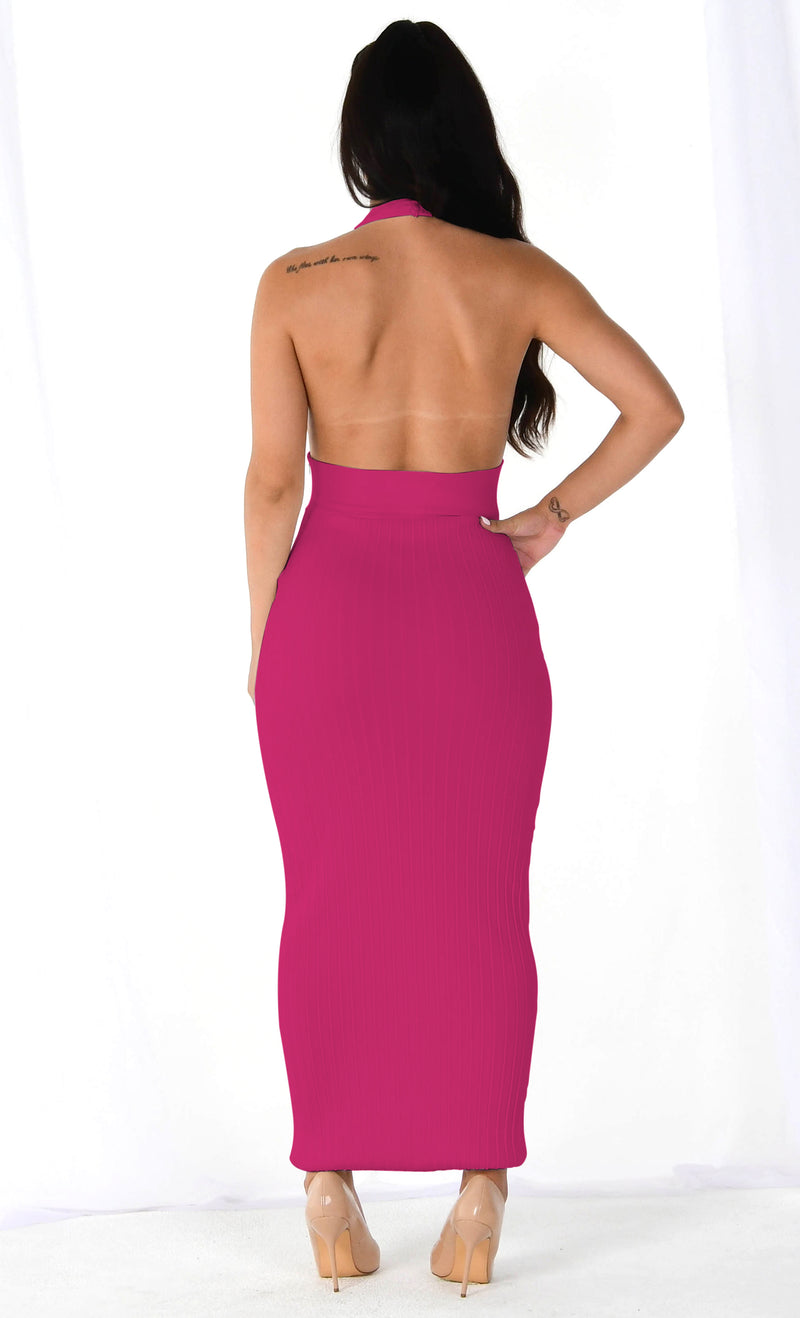 Roll The Dice Pink Sleeveless Ribbed Plunge V Neck Halter Backless Bodycon Maxi Dress - 3 Colors Available