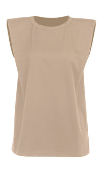 Strong And Stylish Taupe Solid Classic Basic Shoulder Pad Muscle Tee Round Scoop Neck Tee Shirt Sleeveless Top