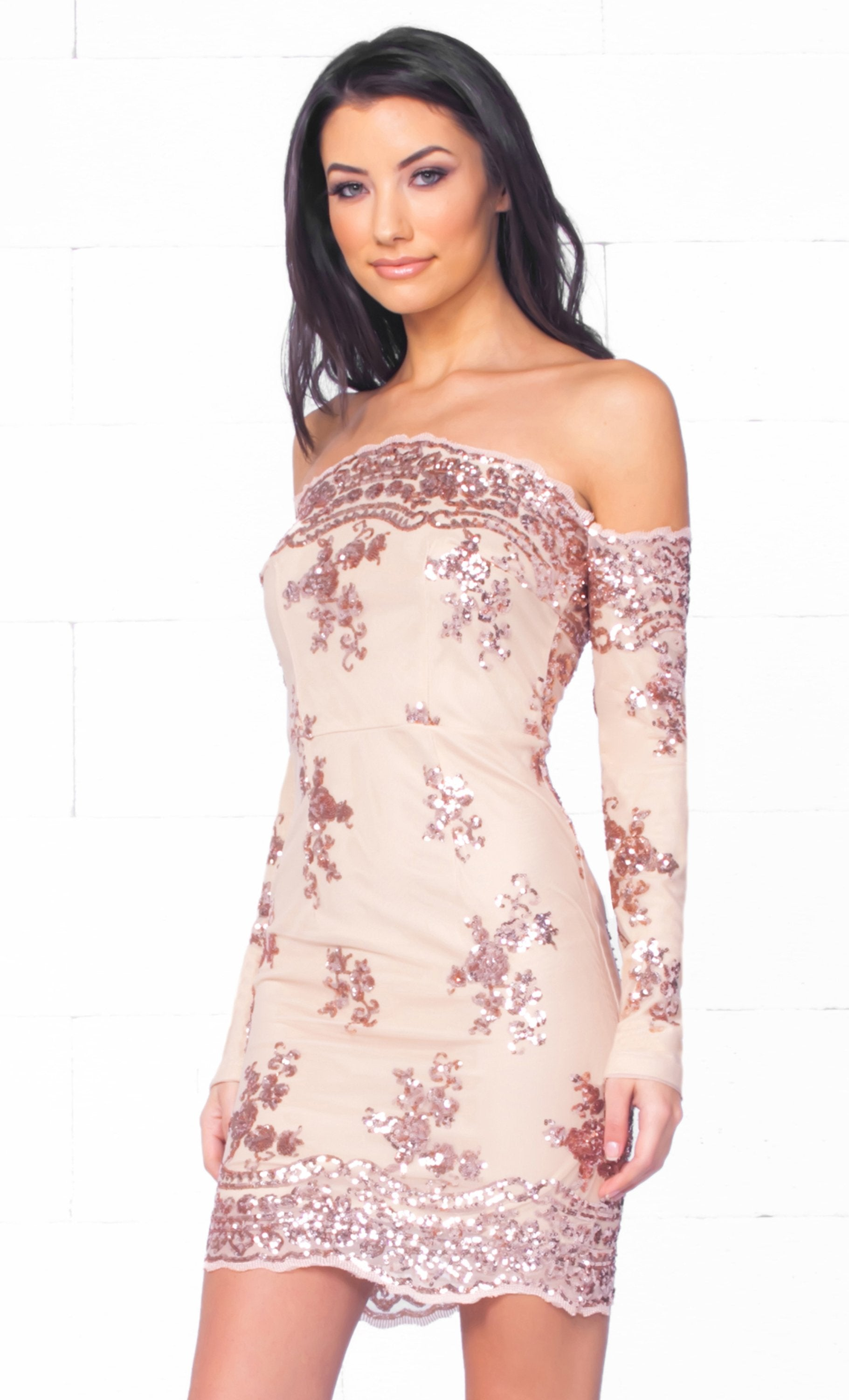 Indie XO Champagne Kisses Beige Gold Sequin Long Sleeve Off The Shoulder Bodycon Mini Dress - Just Ours!