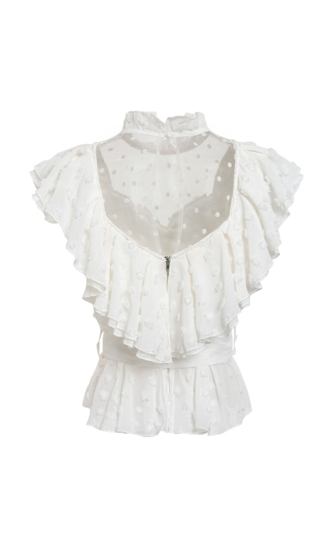 Beautiful Dreamer White Sheer Mesh Polka Dot Short Sleeve Ruffle Mock Neck Tie Waist Blouse Top - 3 Colors Available - Sold Out