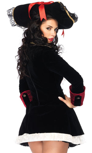 Colonial Cutie Black Red Velvet Lace Long Sleeve Flare Jacket Mini Dress Halloween Costume