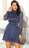 Vintage Romance Navy White Polka Dot Pattern Chiffon Long Lantern Sleeve Mock Neck Tie Sash Belt Flare A Line Casual Mini Dress