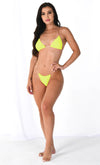 Breathing Underwater Gold Clear Strap Triangle Top Thong Bikini Two Piece Swimsuit