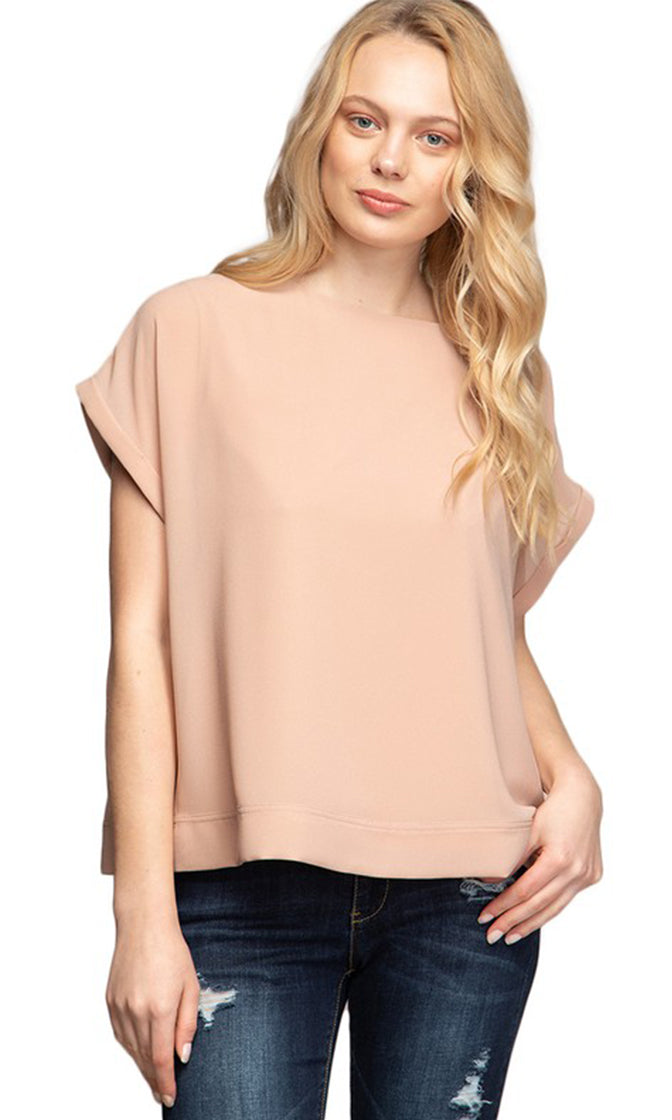 Always Chillin' Short Sleeve Boat Neck Loose Blouse Top - 7 Colors Available