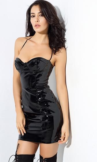 Do As I Say Black Sleeveless Spaghetti Strap Sweetheart Neck Shiny Vinyl Bustier Halter Bodycon Mini Dress