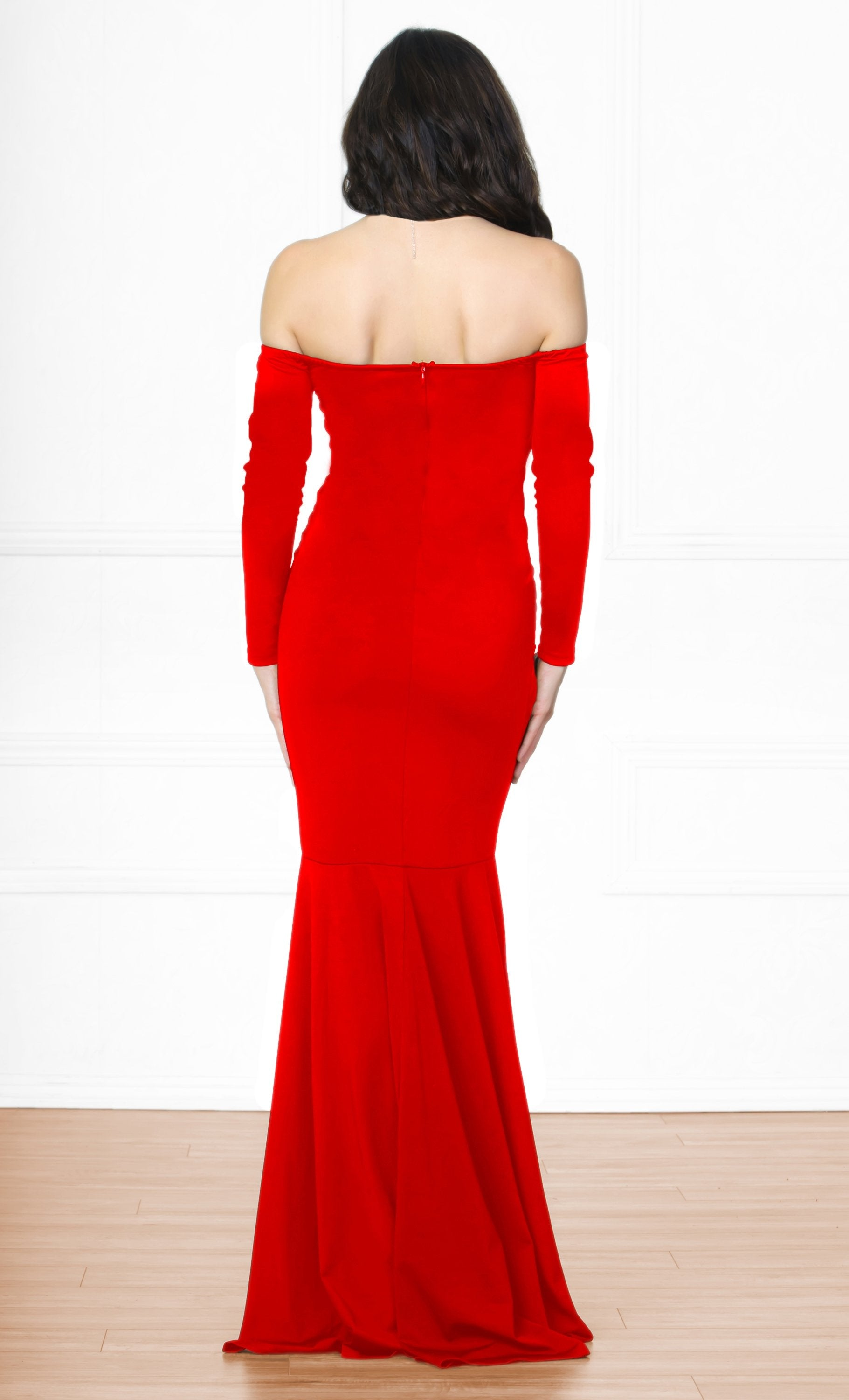 Indie XO Dramatic Moment Red Long Sleeve Off The Shoulder Mermaid Maxi Dress