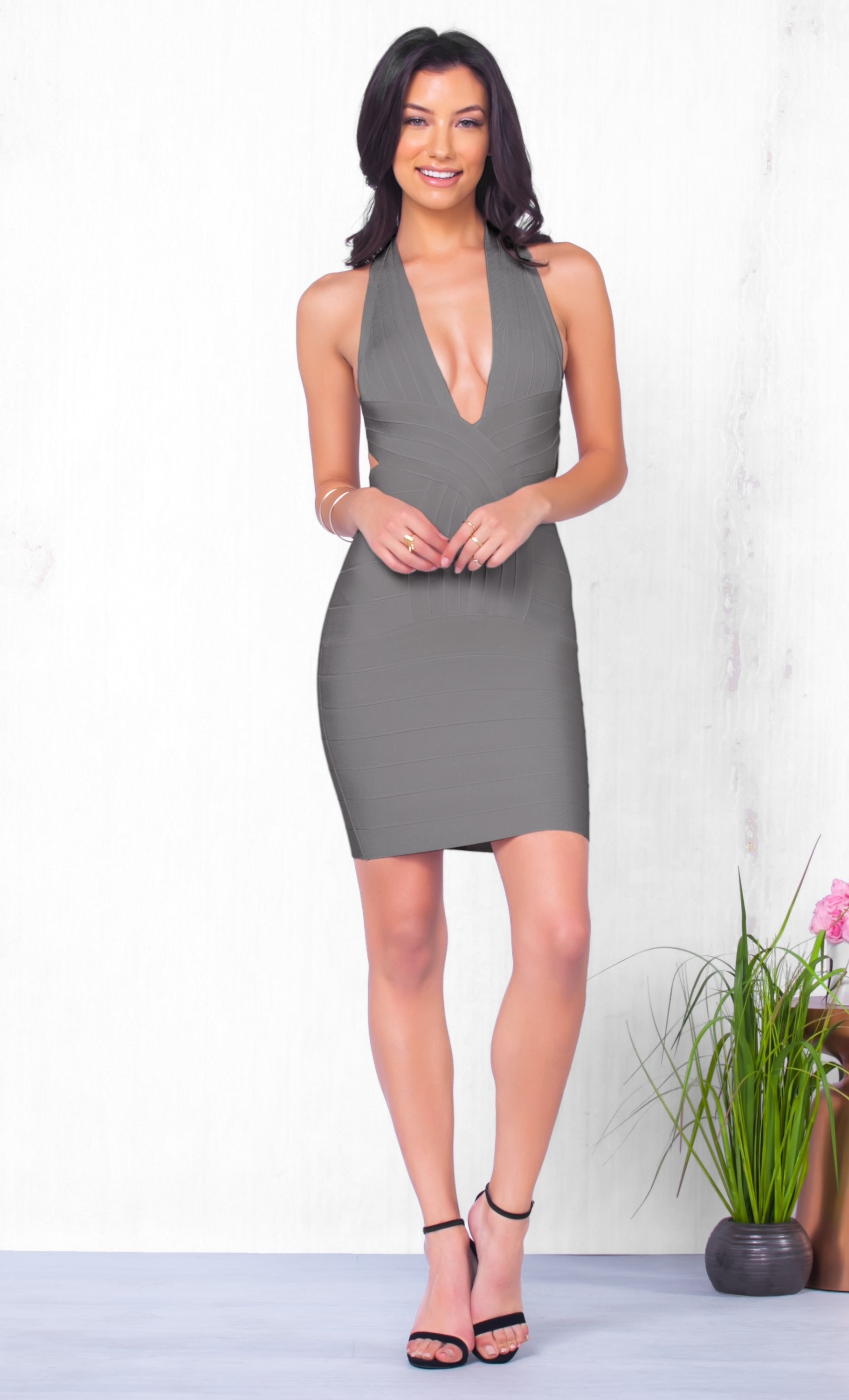 Indie XO She's A Catch Sleeveless Grey Plunging Deep V Neck Cross Back Body Con Bandage Fitted Mini Dress