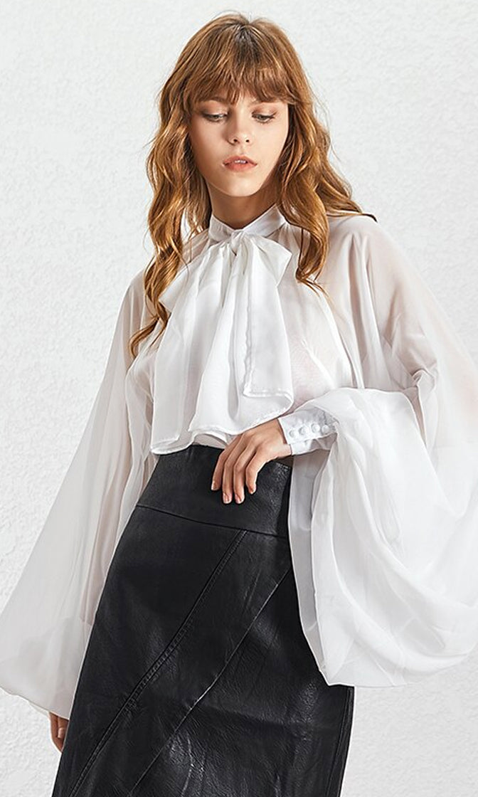 Don't Give Up Extra Long Lantern Sleeve Sheer Chiffon Bow Neck Blouse Top - 3 Colors Available