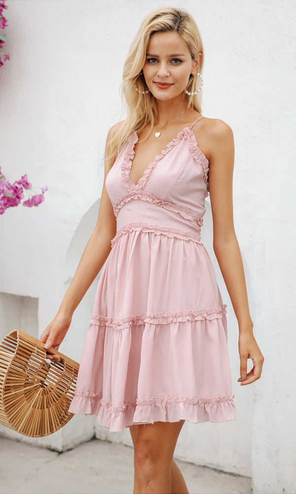 b6aa7e7b0a Close To You Pink Sleeveless Spaghetti Strap Plunge V Neck Ruffle Tiered  Chiffon A Line Flare