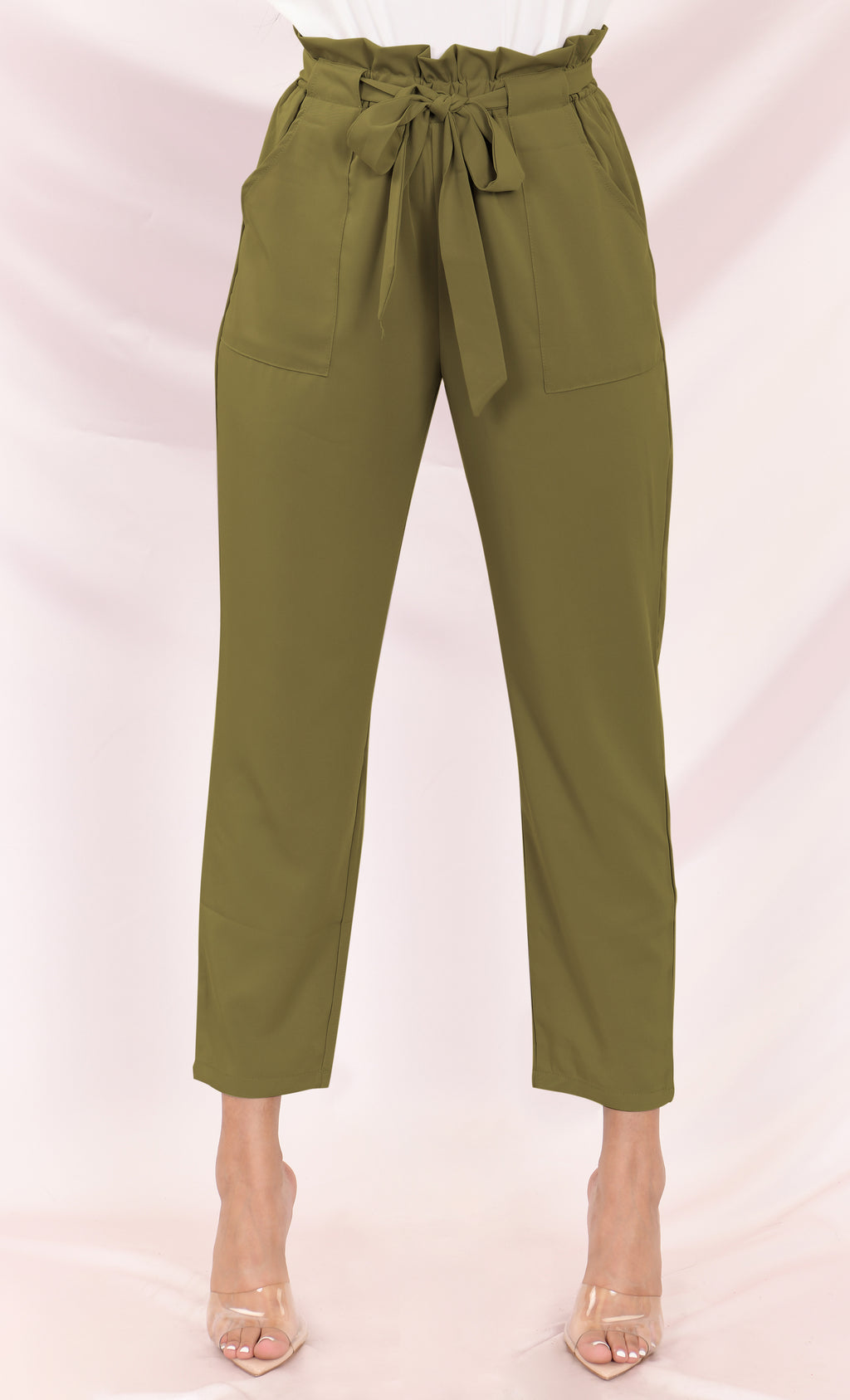 Urban Escape Olive Tie Waist Loose Tapered Leg Pocket Trouser Pants