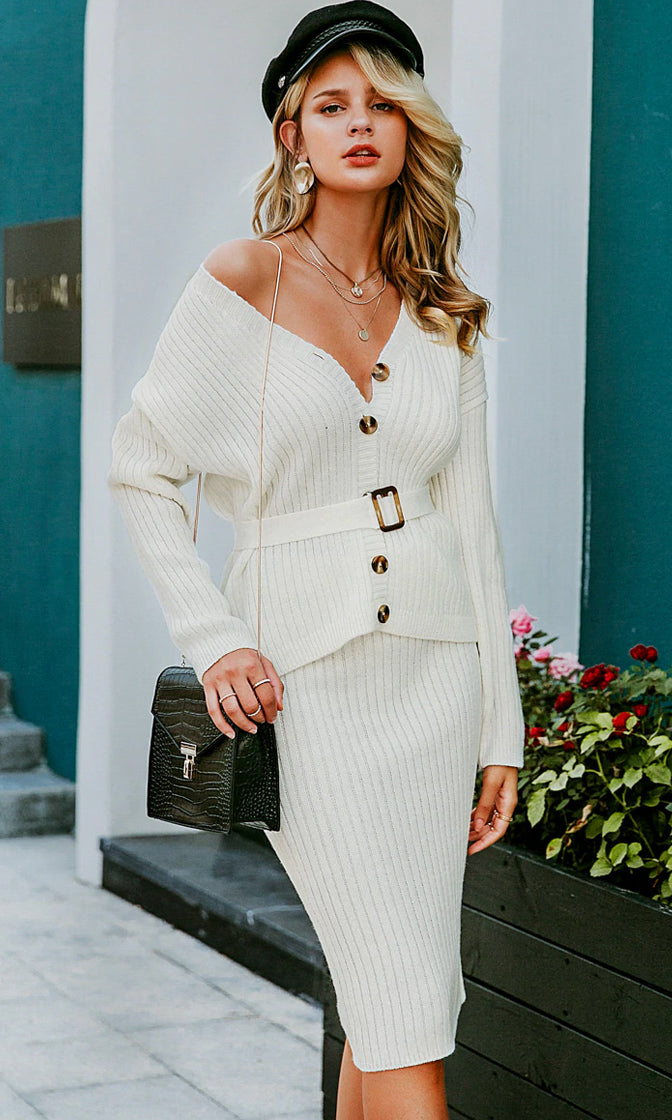 Hit Me Up Long Sleeve Ribbed Button V Neck Belted Cardigan Sweater Midi Skirt Two Piece Dress - 2 Colors Available