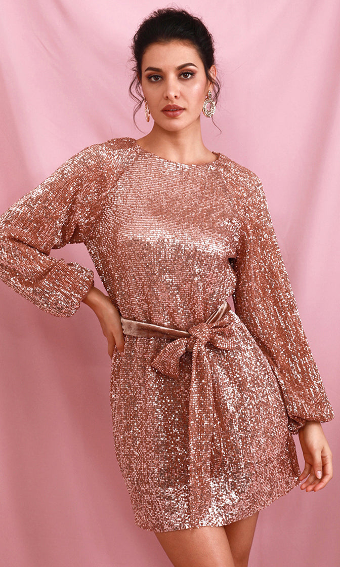 Blazing Star Rose Gold Sequin Long Lantern Sleeve Round Neck Sash Belt Mini Dress