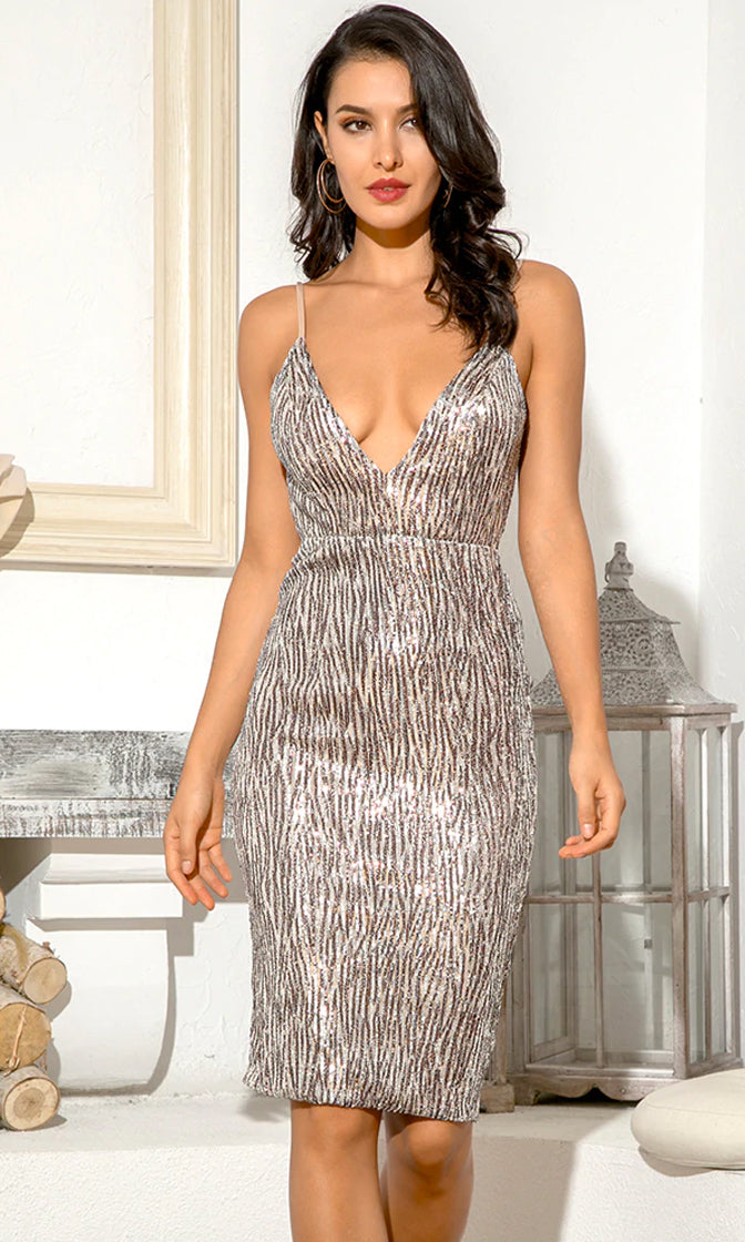 Glam It Up Silver Sequin Geometric Pattern Sleeveless Spaghetti Strap Plunge V Neck Bodycon Mini Dress