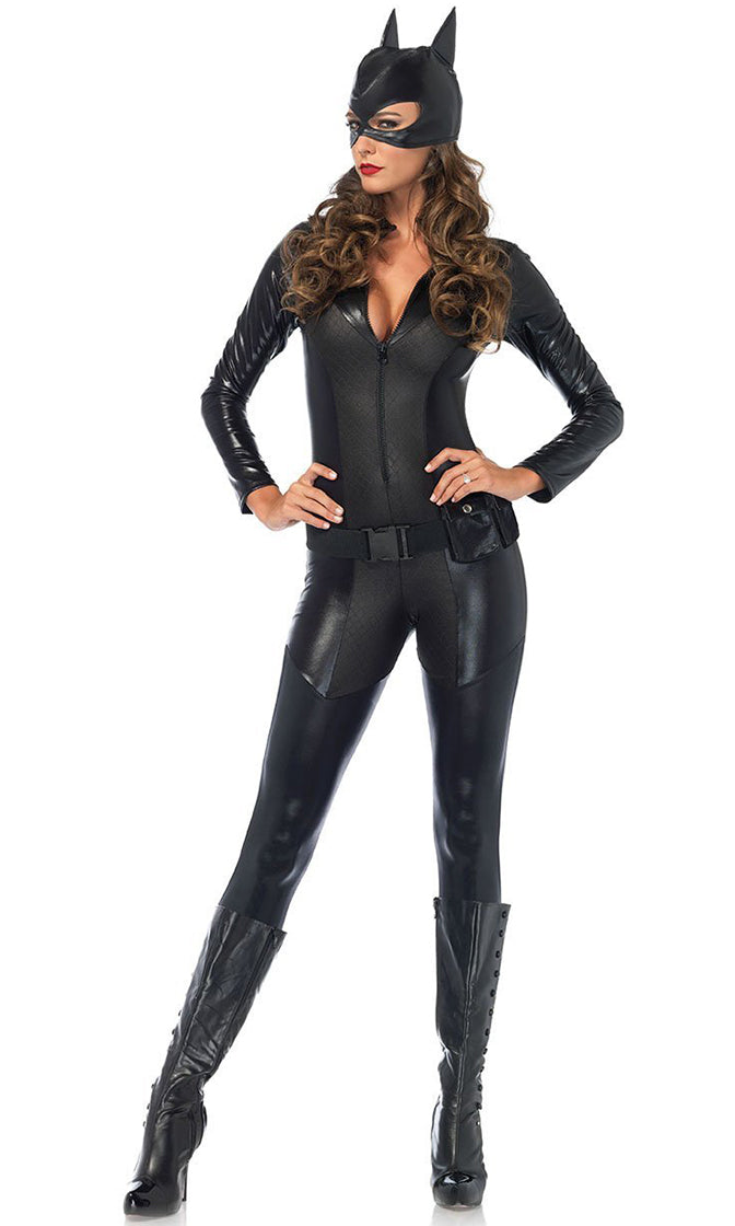 Cat Girl Black Faux Leather Long Sleeve Plunge V Neck Zipper Bodycon Jumpsuit Halloween Costume
