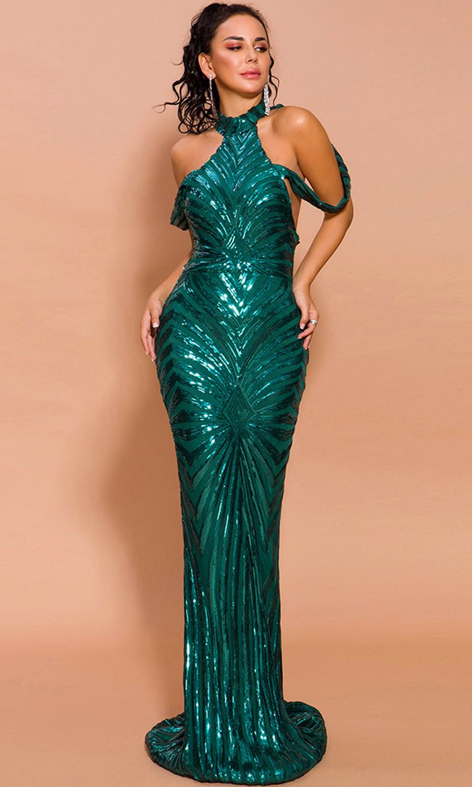 Whatever, Next Blue Green Geometric Sequin Draped Cold Shoulder Mock Neck Cut Out Back Mermaid Maxi Dress With Train