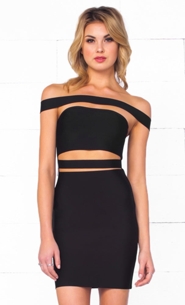 Indie XO It Girl Black Strapless Cut Out Bandage Bodycon Mini Dress - Inspired by Kylie Jenner